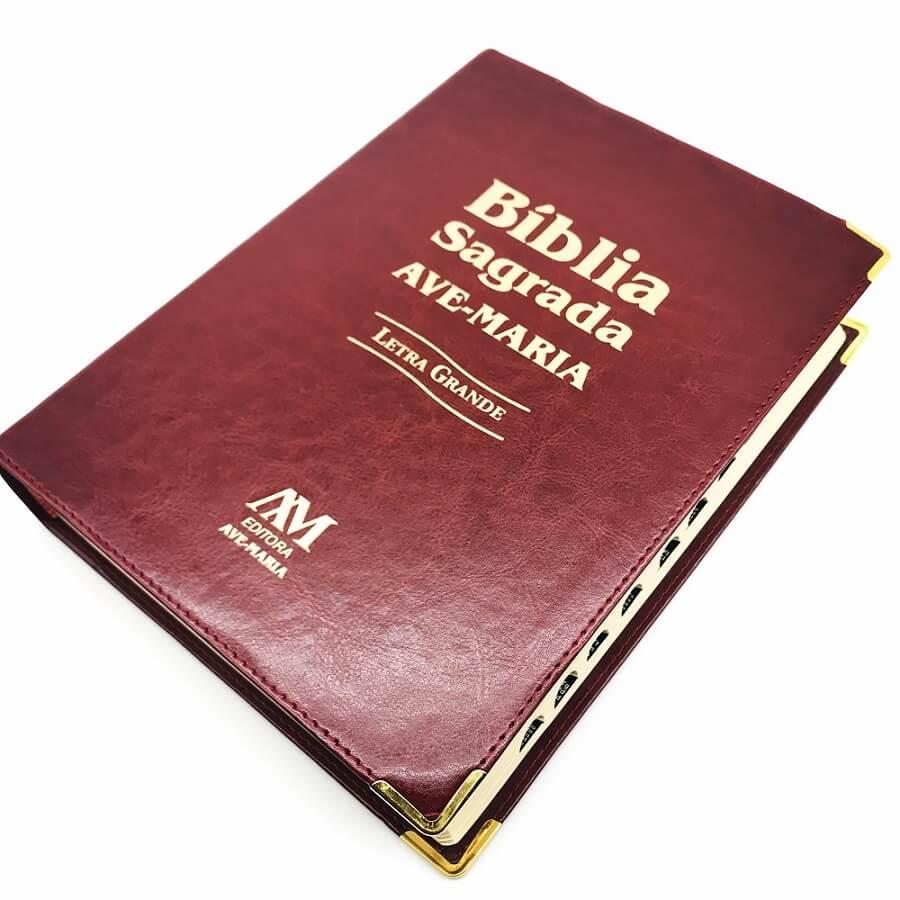 Biblia Sagrada Ave Maria Letra Grande Católica Capa Luxo Marrom