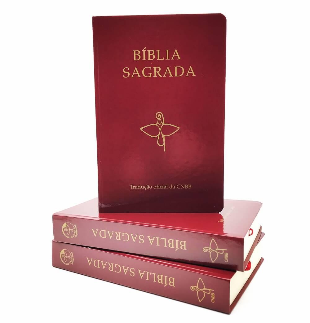Bíblia Sagrada Cnbb Católica Média Capa Dura Vermelha