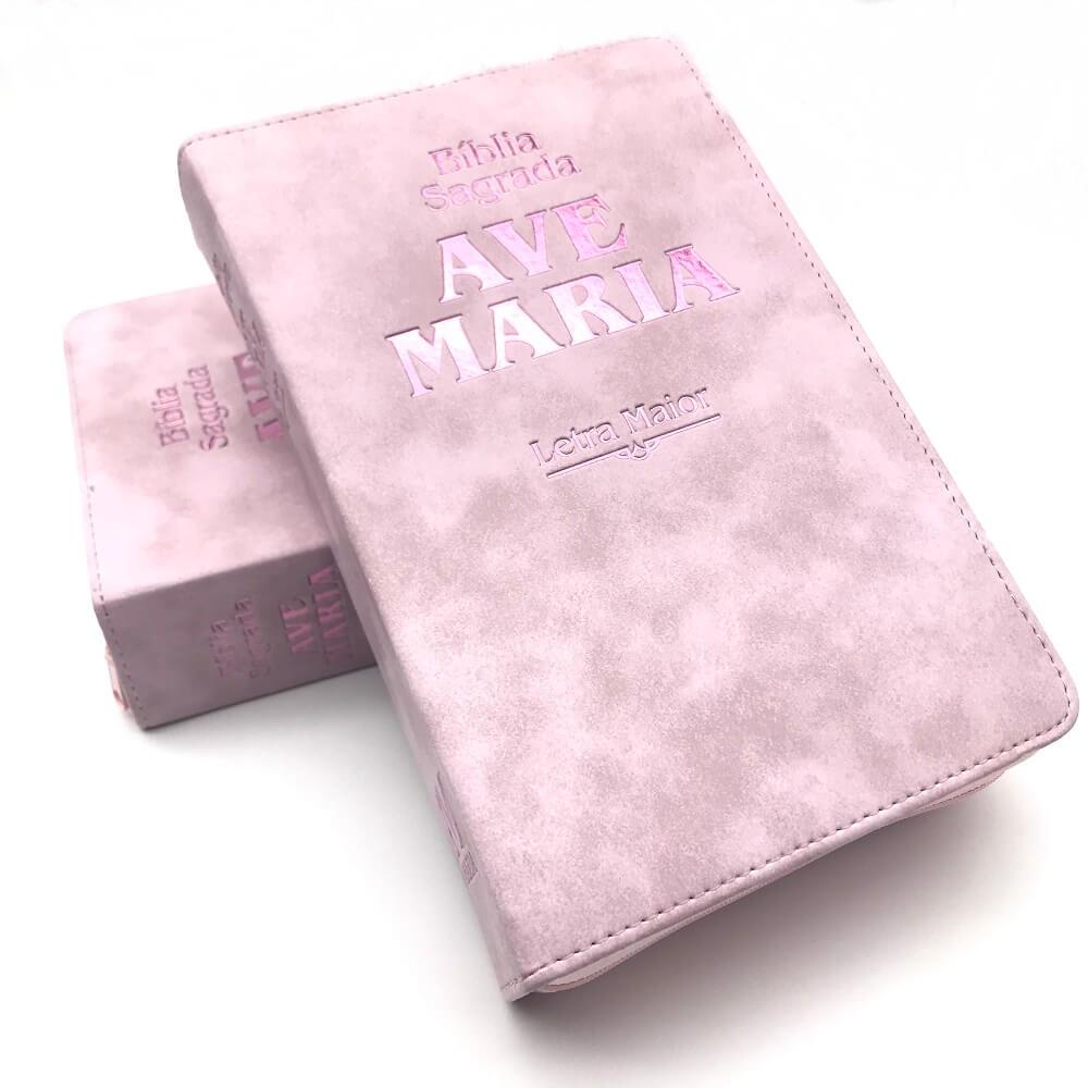 BIBLIA SAGRADA AVE MARIA LETRA GRANDE ZIPER STRIKE ROSA