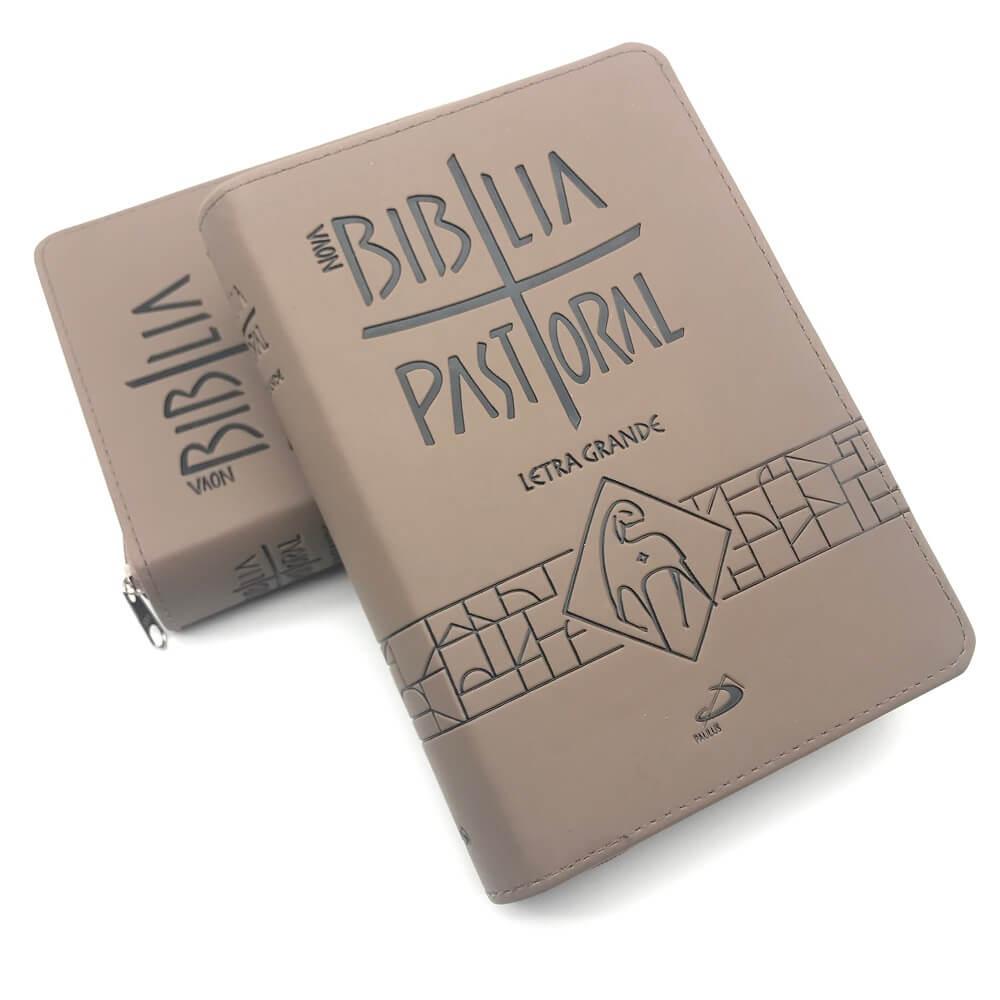 BÍBLIA SAGRADA CATOLICA PASTORAL LETRA GRANDE ZÍPER