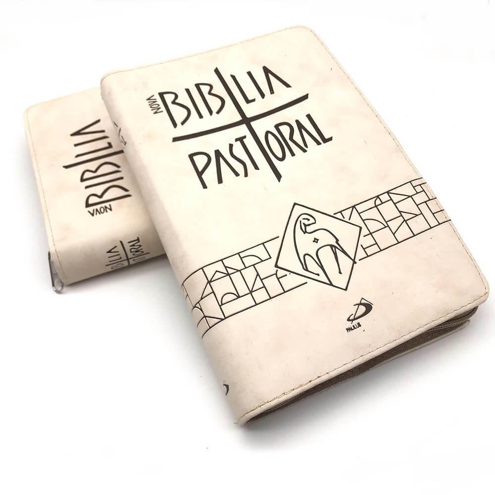 Bíblia Sagrada com Ziper Pastoral Média Creme