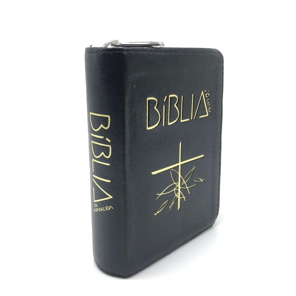 BÍBLIA SAGRADA DE APARECIDA BOLSO COM ZÍPER PRETA