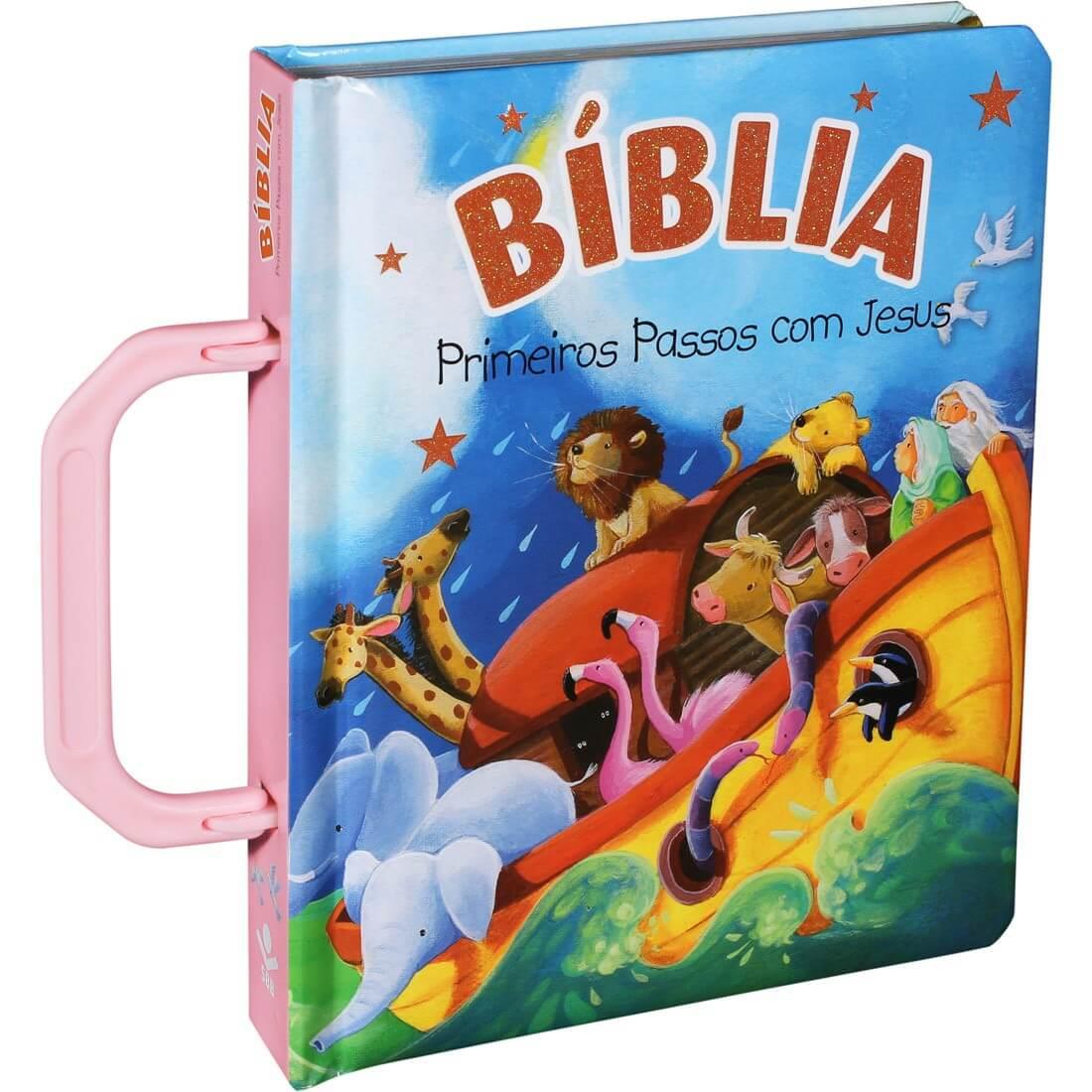 Bíblia Sagrada Infantil Primeiros Passos Com Jesus Alça Rosa