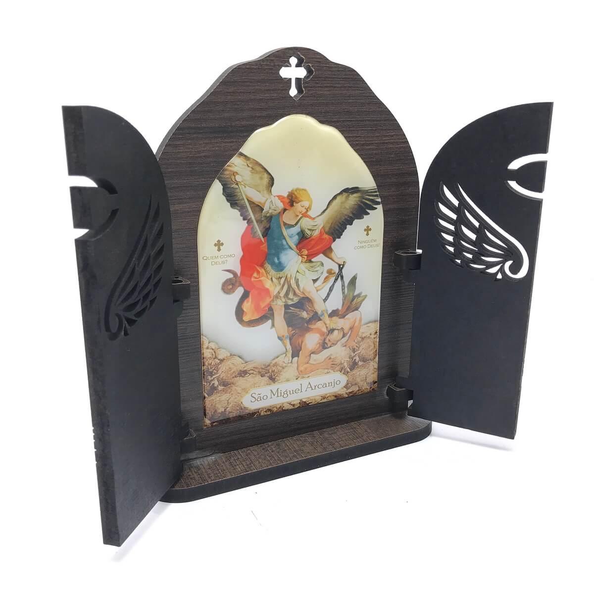 Capela Oração De Mesa São Miguel Arcanjo Mdf Com Porta Vazada