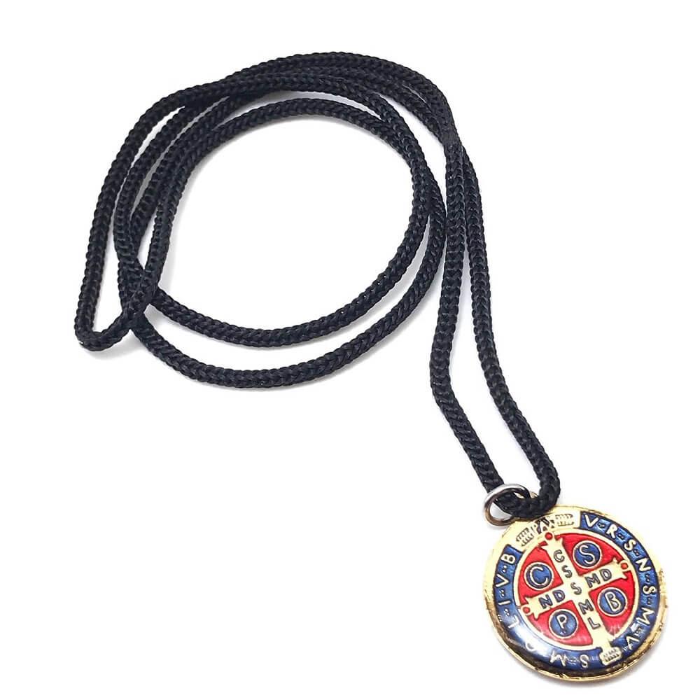 Colar Cordão Medalha De São Bento Colorida