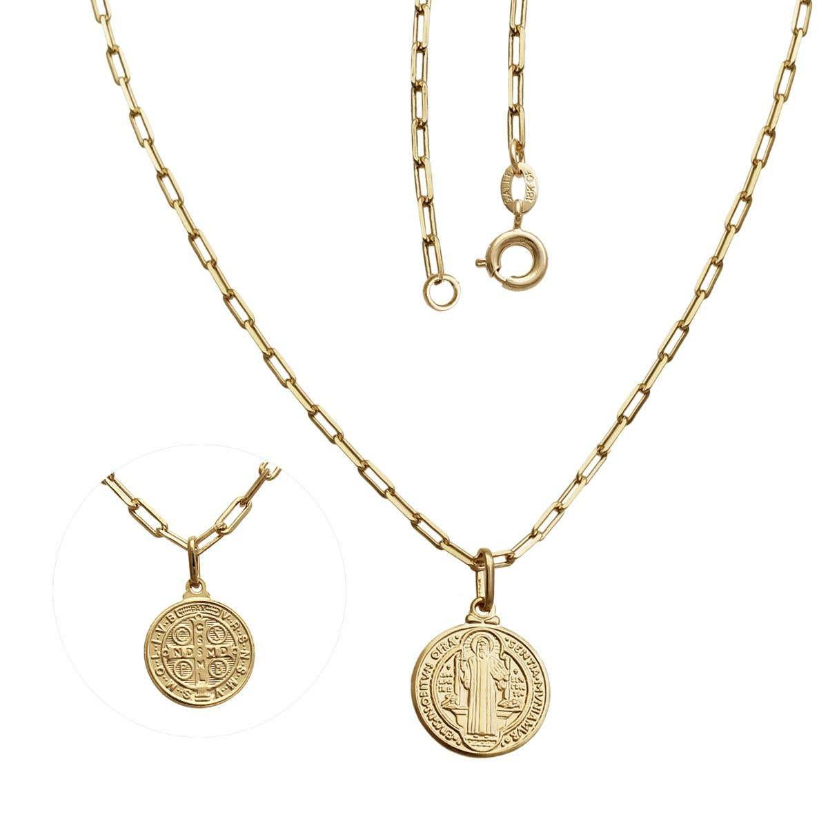 Colar Corrente Medalha De São Bento Folheado A Ouro