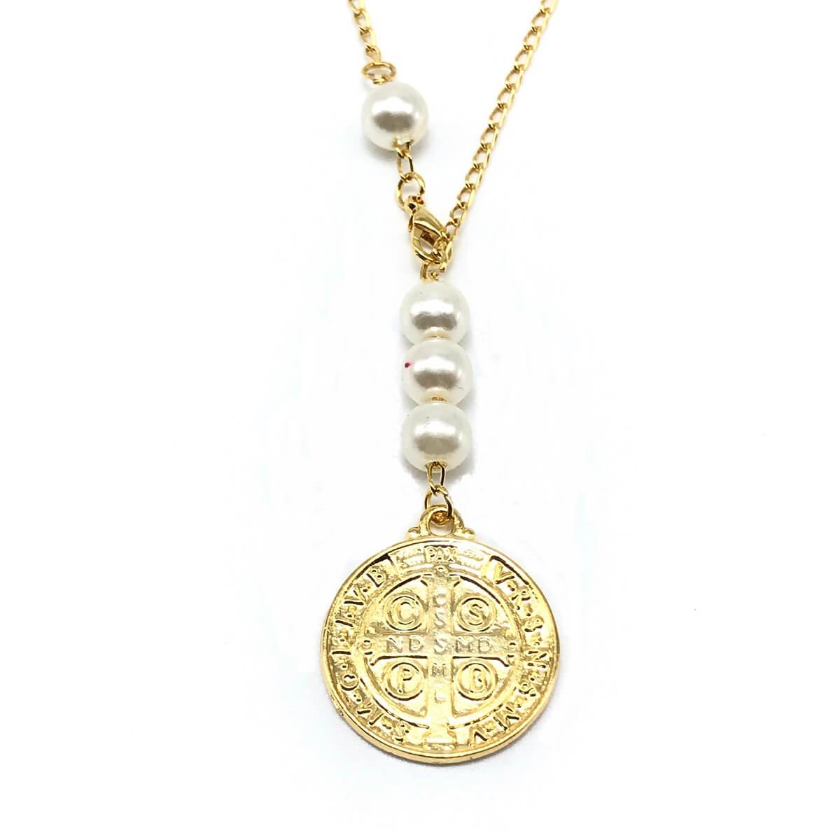 Colar Medalha São Bento Perola Dourado