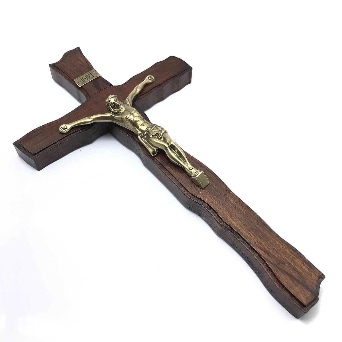 Crucifixo de Parede em Madeira Nobre Ouro Velho 39 cm