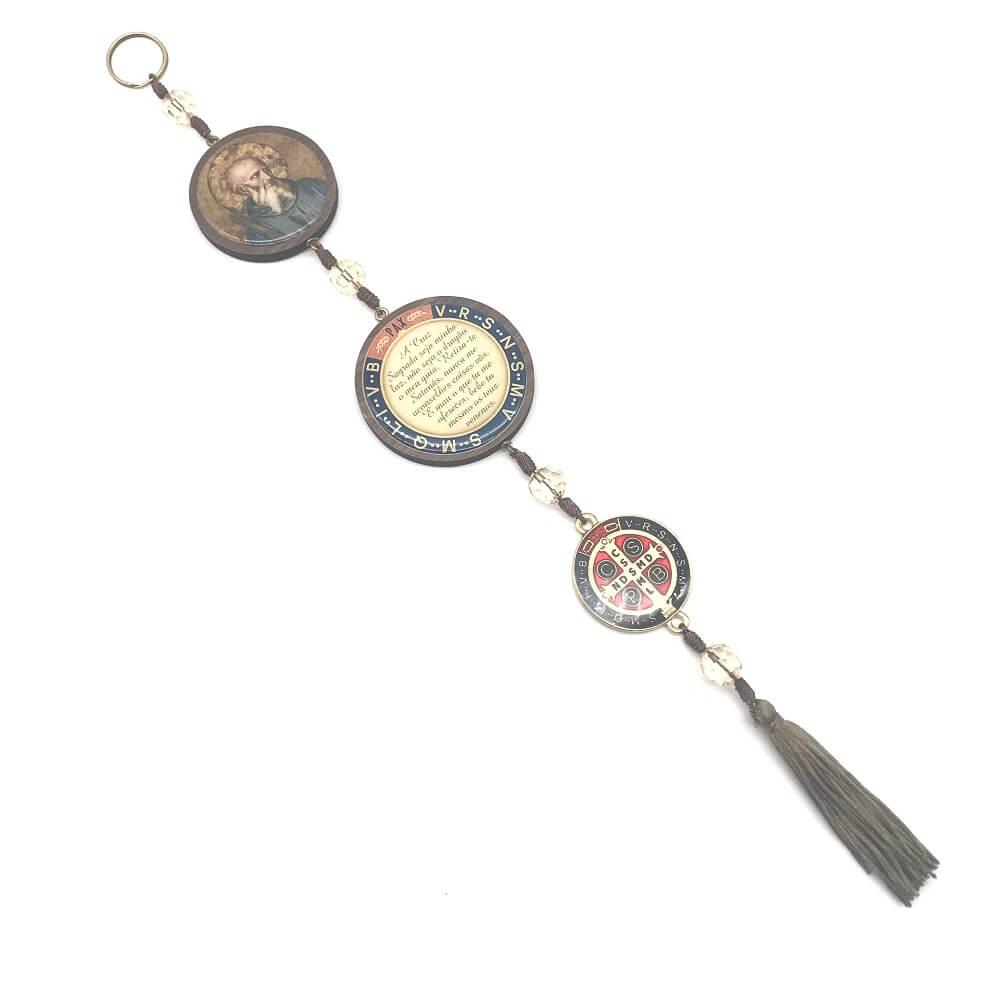 Escapulário de Porta Medalha de São Bento Colorido