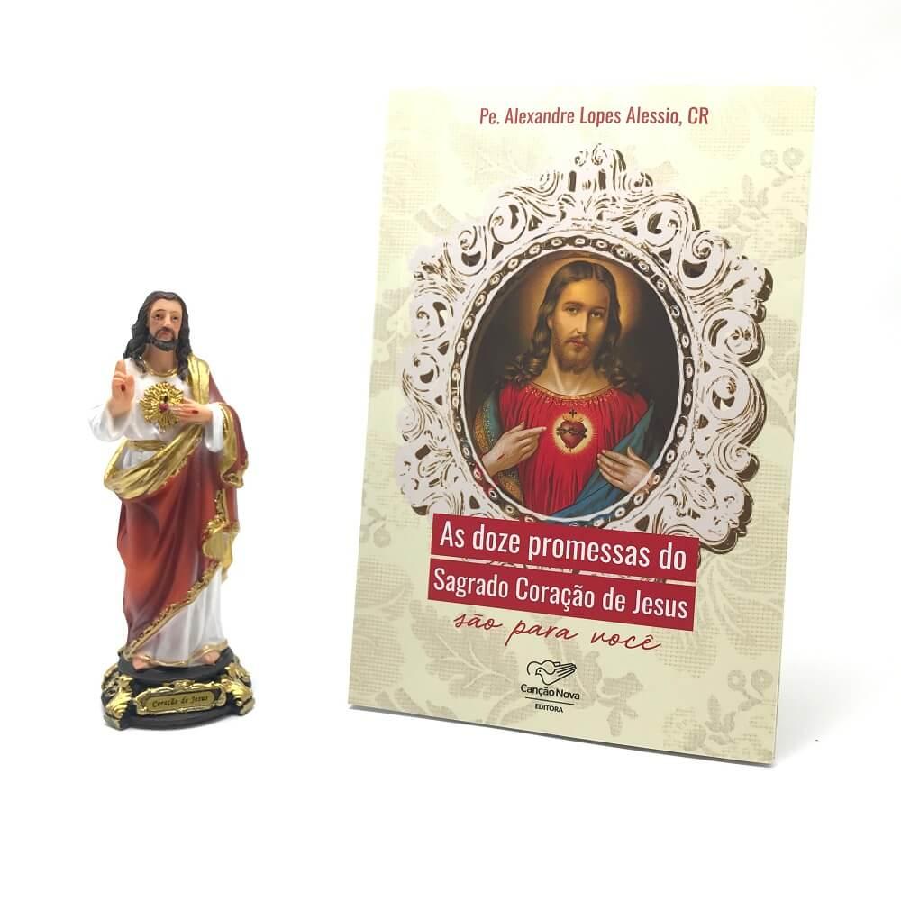 Kit Imagem e Livro As Doze Promessas do Sagrado Coração de Jesus