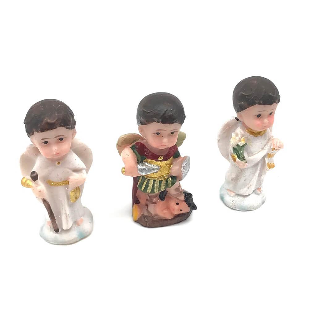 Imagem Infantil Dos Três Arcanjos Em Resina