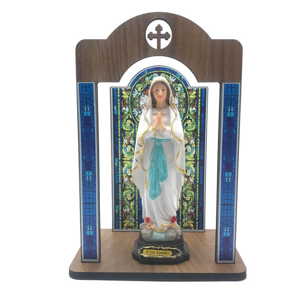 Kit Imagem Nossa Senhora de Lourdes com Oratório Vitral Coroação