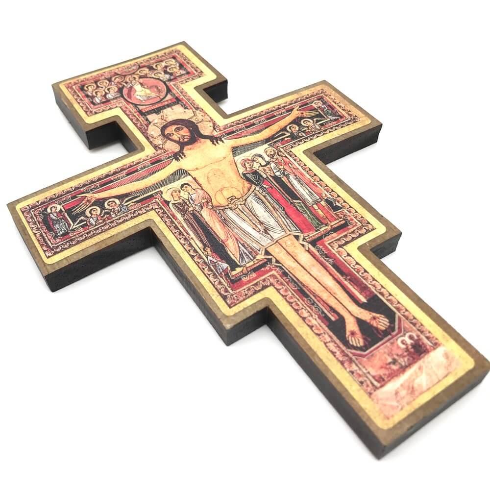 Kit 10 Crucifixo Cruz de São Damião Parede 19 cm