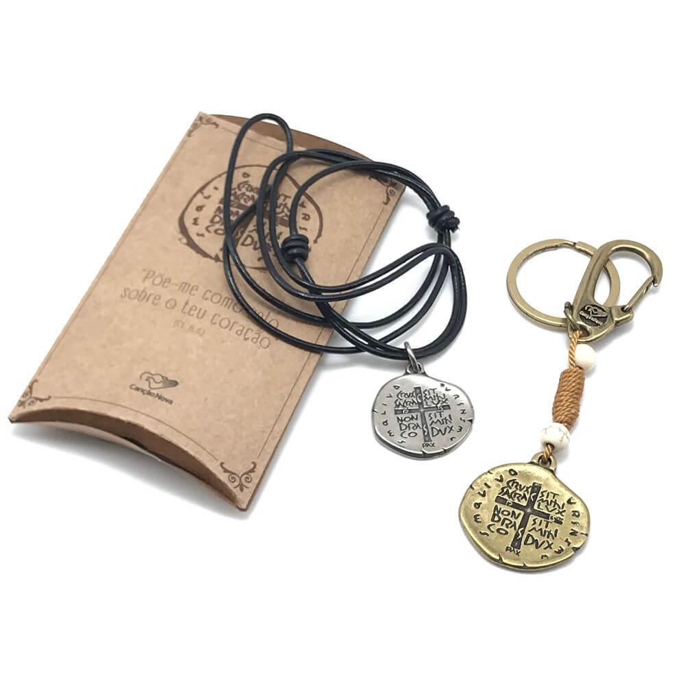 Kit Chaveiro E Cordão Medalha das Duas Cruzes