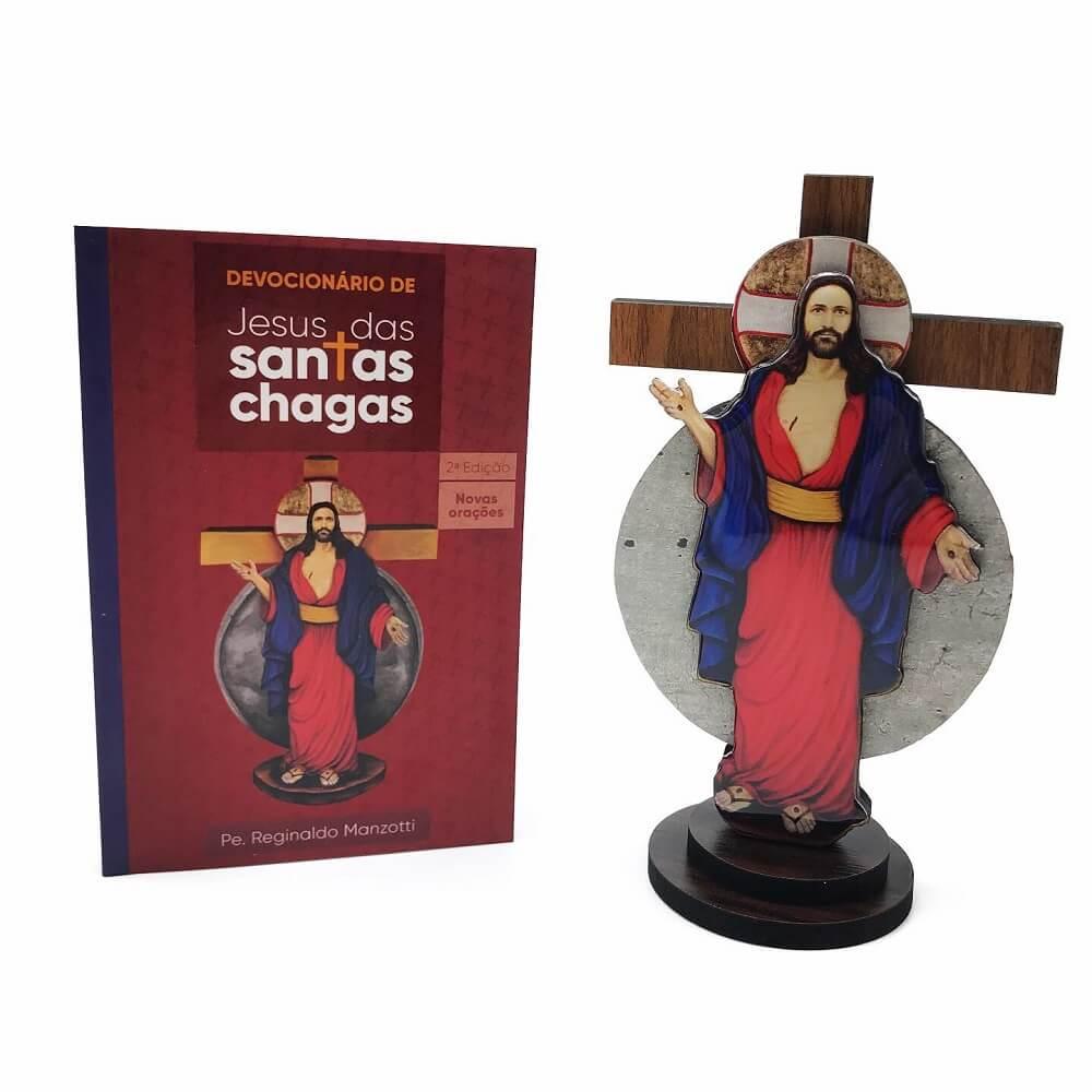 KIT DEVOCIONÁRIO E CRUCIFIXO DAS SANTAS CHAGAS DE JESUS