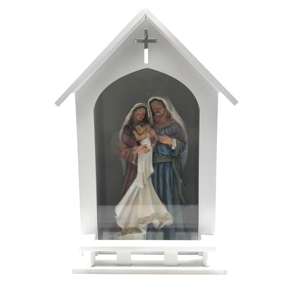 Kit Imagem da Sagrada Famila + Oratório de Madeira com Vidro Branco