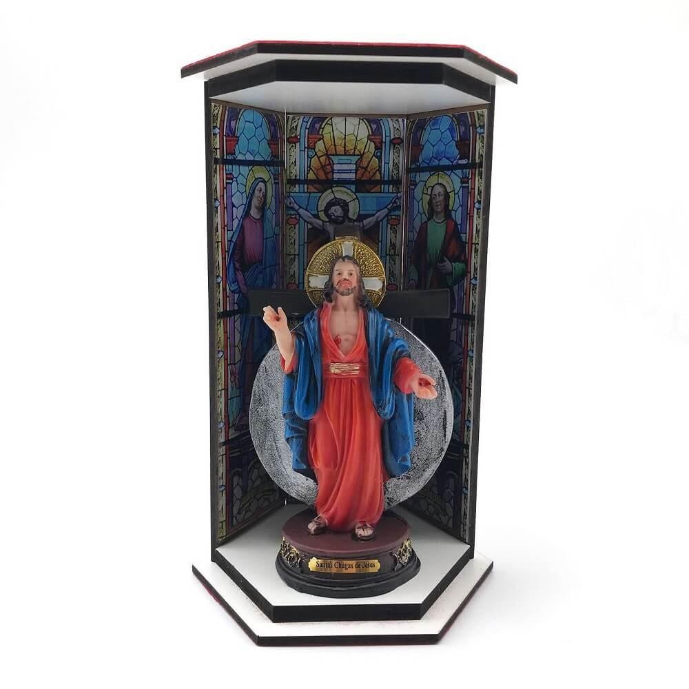 Kit Imagem das Santas Chagas Com Oratório Vitral Ressurreição
