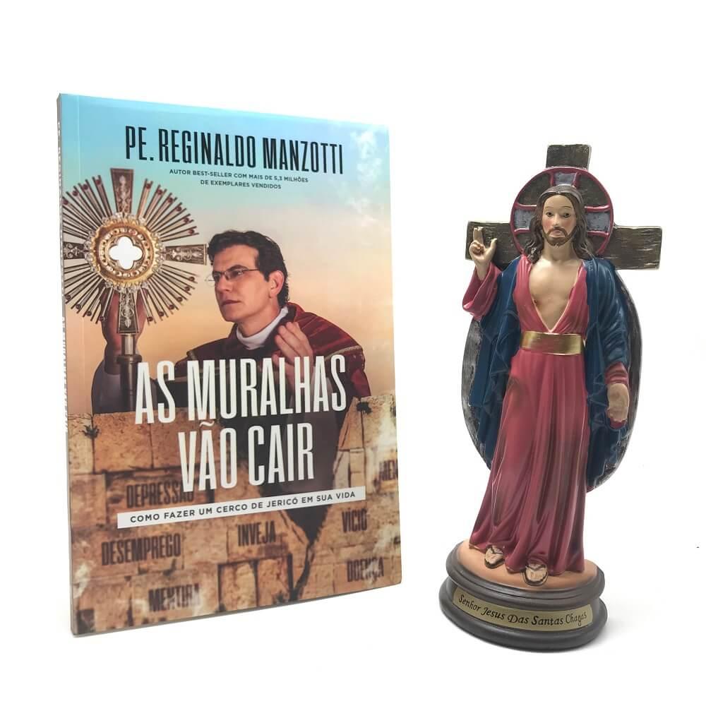Kit Imagem das Santas Chagas e Livro As Muralhas vão Cair