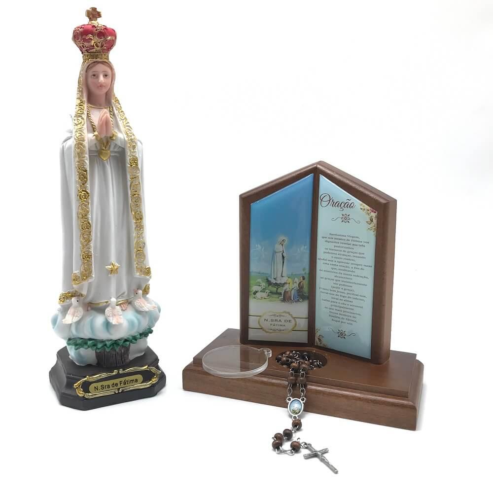 Kit Imagem de Nossa Senhora de Fátima Com Capelinha Porta Terço