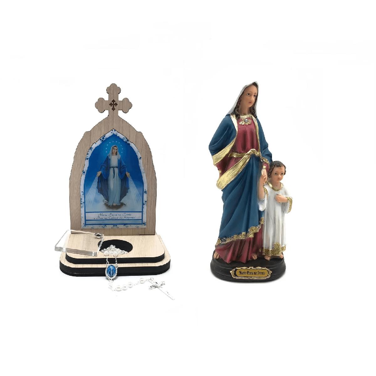 Kit Imagem 20 cm e Capela Porta Intenções Maria Passa na Frente