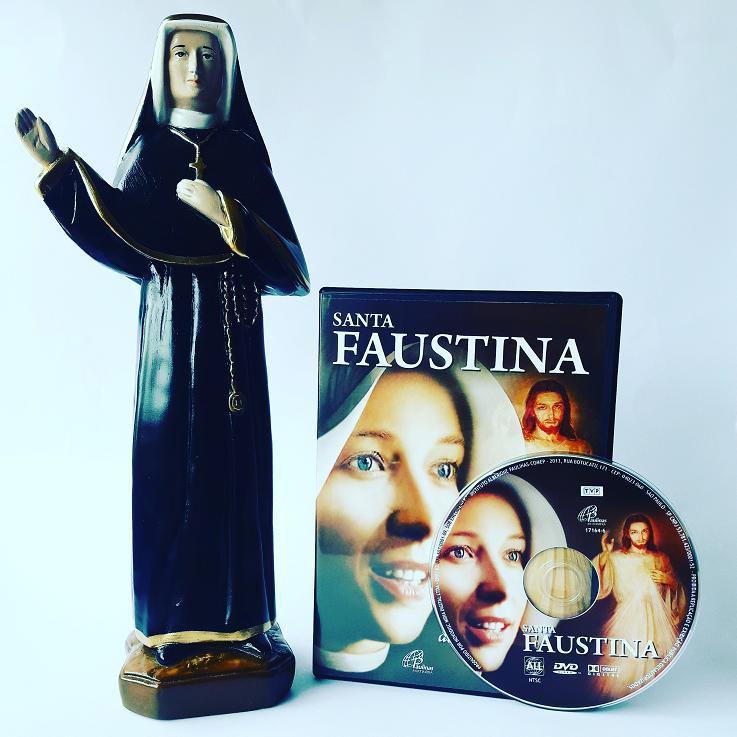 KIT IMAGEM GESSO 30 CM + DVD FILME SANTA FAUSTINA