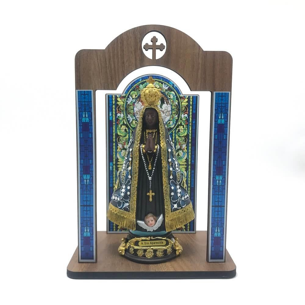 Kit Imagem Nossa Senhora Aparecida Com Terço com Oratório Vitral Coroação