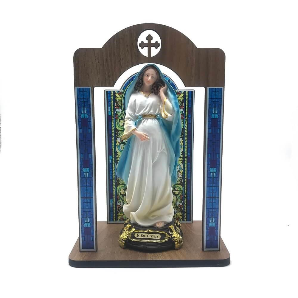 Kit Imagem Nossa Senhora Grávida com Oratório Vitral Coroação