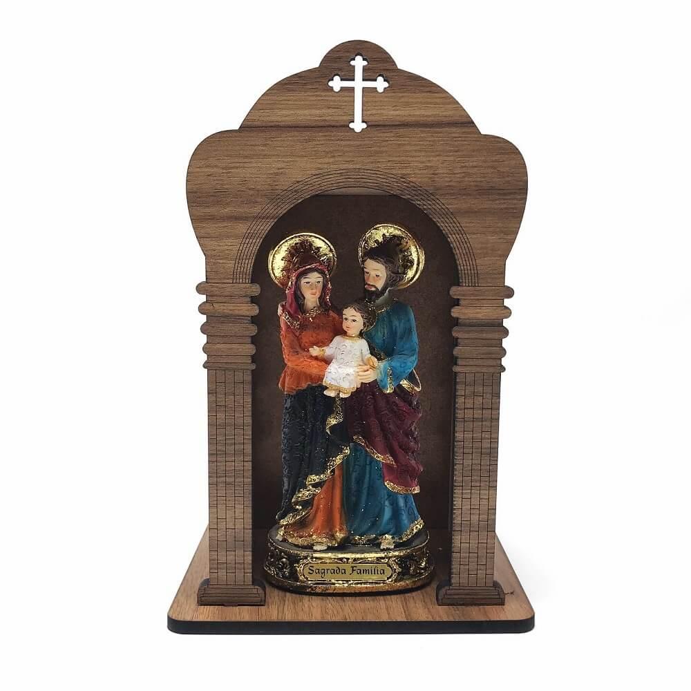 Kit Imagem Sagrada Familia com Oratório de Madeira
