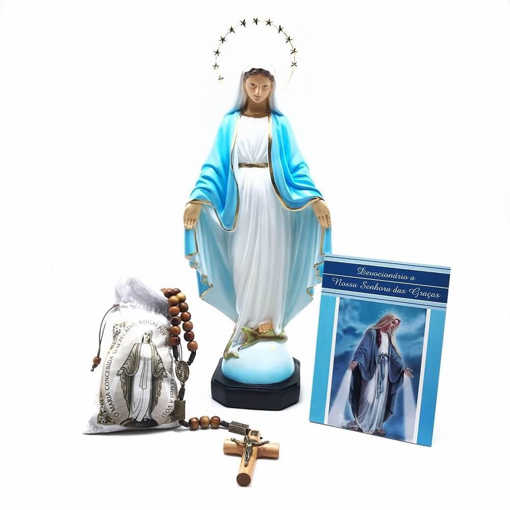 Kit Imagem Terço e Devocionário de Nossa Senhora das Graças