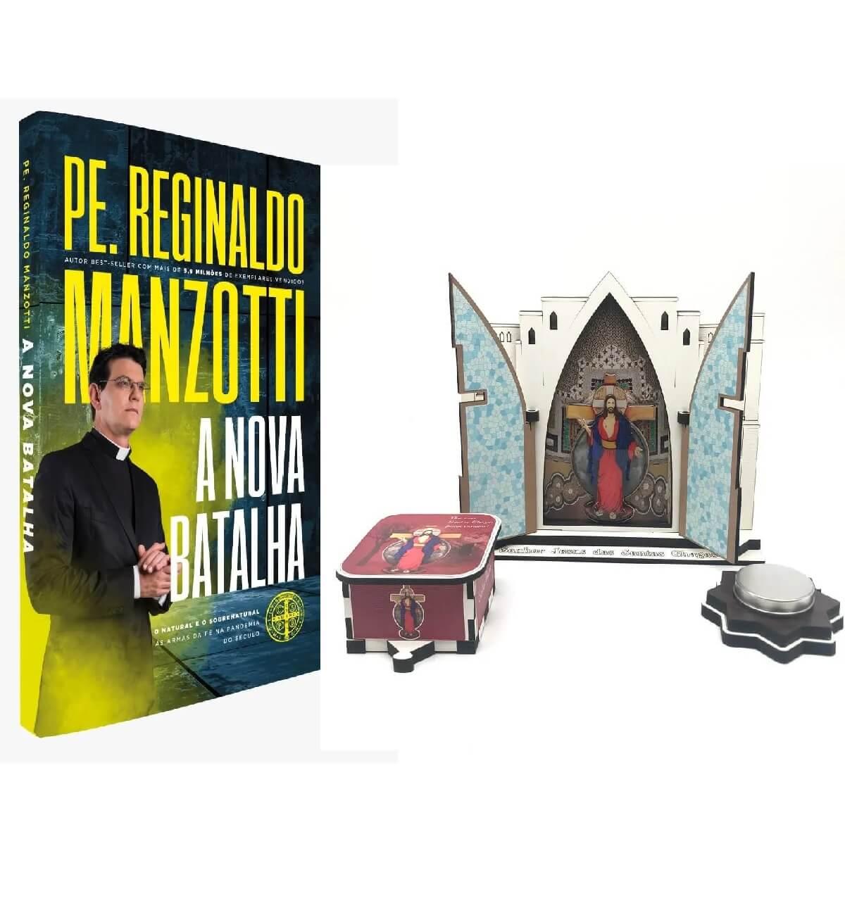 Kit Livro A Nova Batalha E Oratório Das Santas Chagas - Padre Reginaldo Manzotti