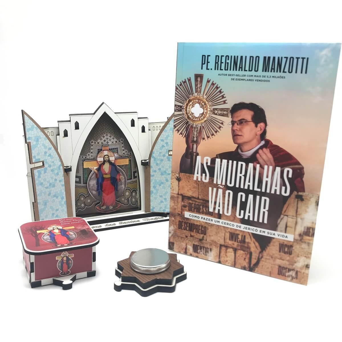 Kit Livro As Muralhas Vão Cair e Oratório Santuário das Santas Chagas