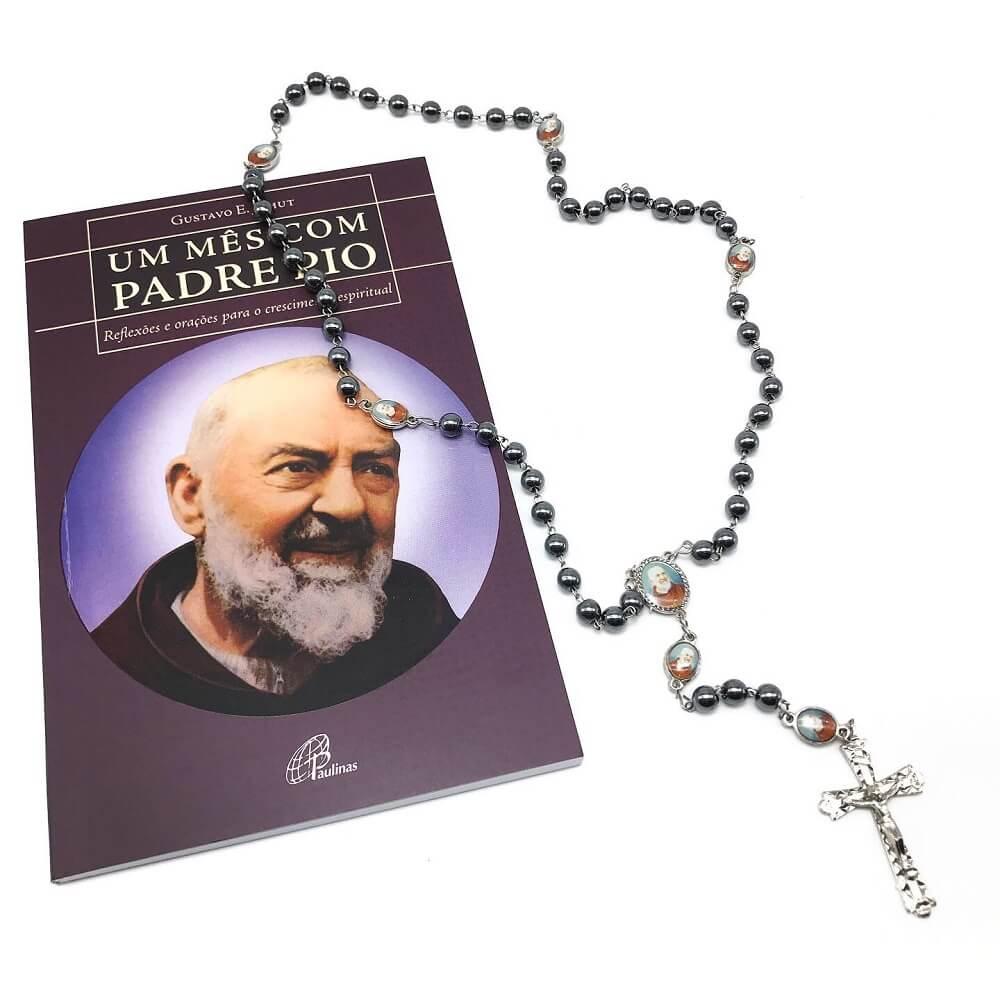 Kit Livro e Terço de Hematita Padre Pio