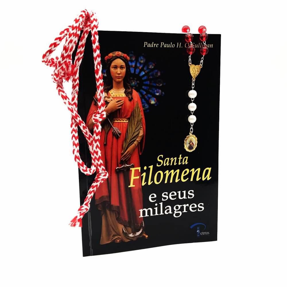 Kit Livro Terço e Cordão de Santa Filomena