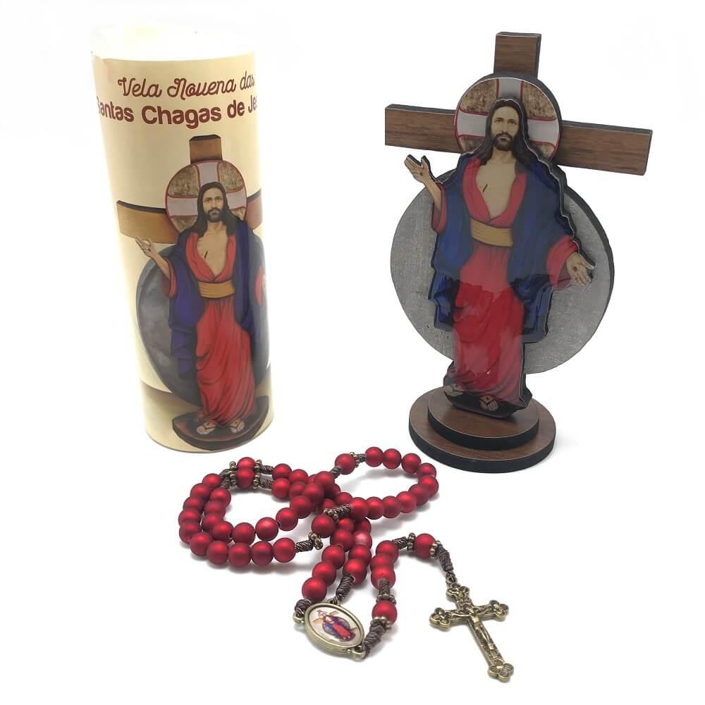 Kit Oração Terço Crucifixo e Vela das Santas Chagas