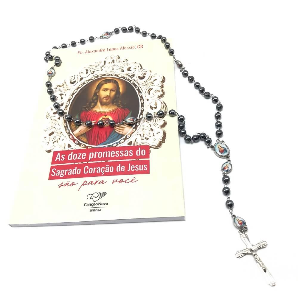 Kit Terço Hematita e Livro As Doze Promessas do Sagrado Coração de Jesus