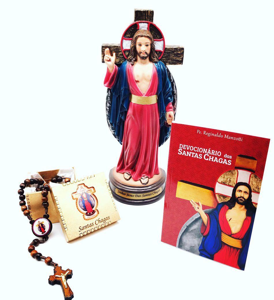 Kit Santas Chagas com Terço + Imagem + Devocionário Santas Chagas