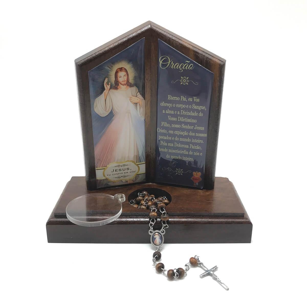 Oração de Mesa com Porta Terço Jesus Misericordioso