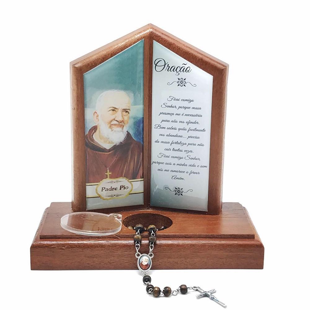 Oração de Mesa com Porta Terço Padre Pio