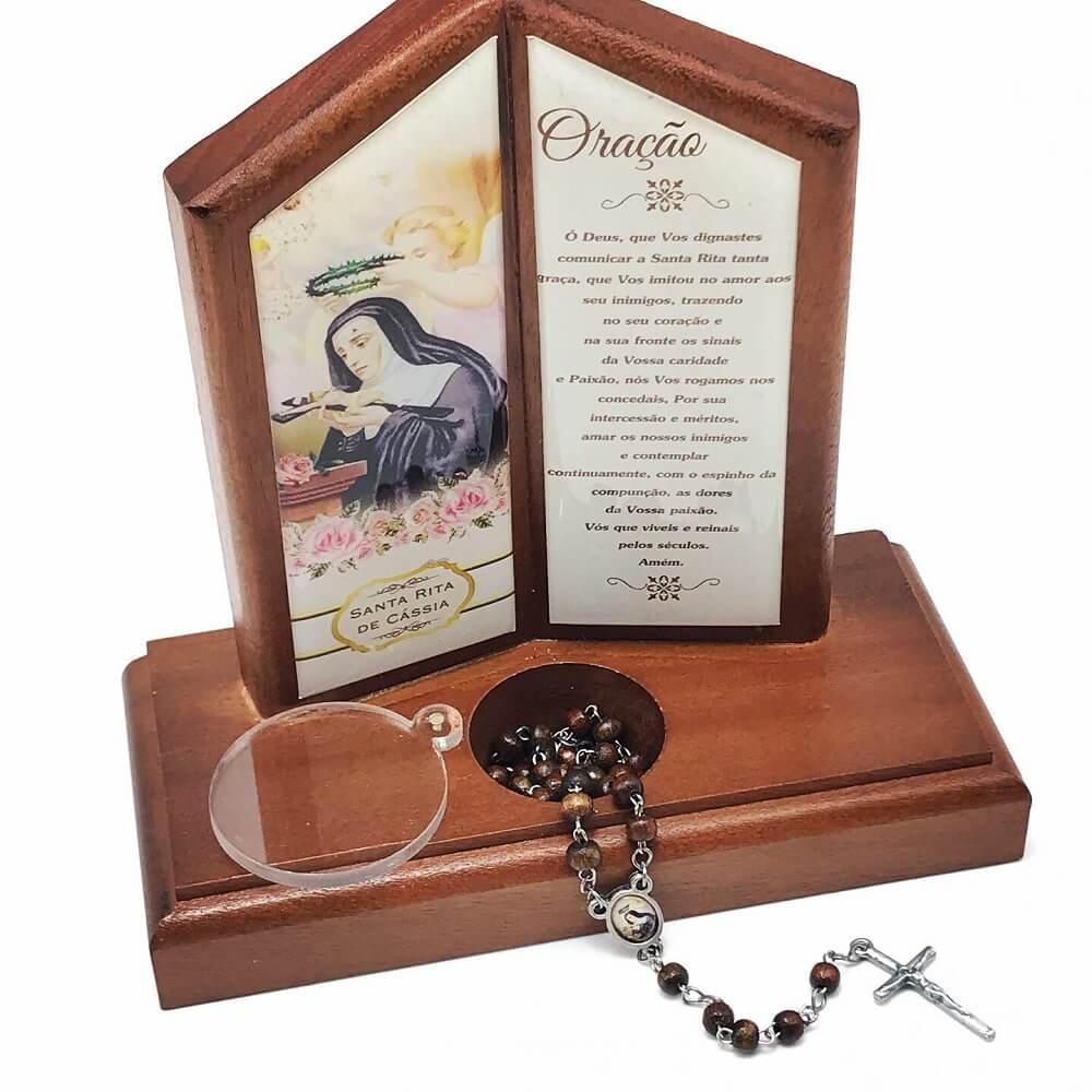 Oração de Mesa com Porta Terço Santa Rita de Cássia