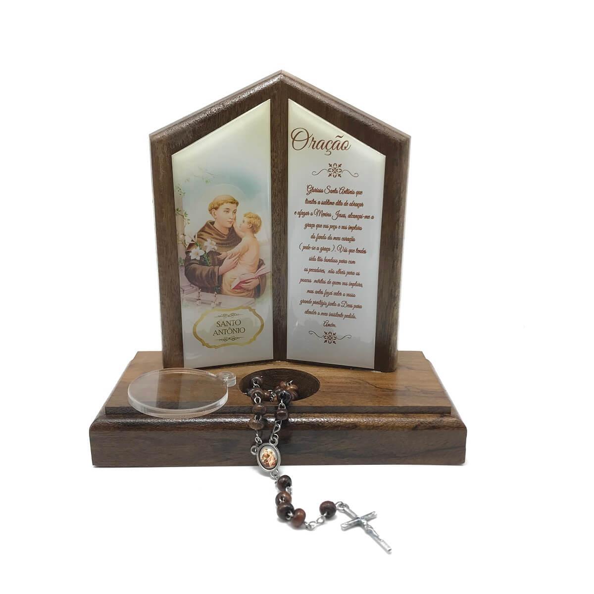 Oração de Mesa com Porta Terço Santo Antônio