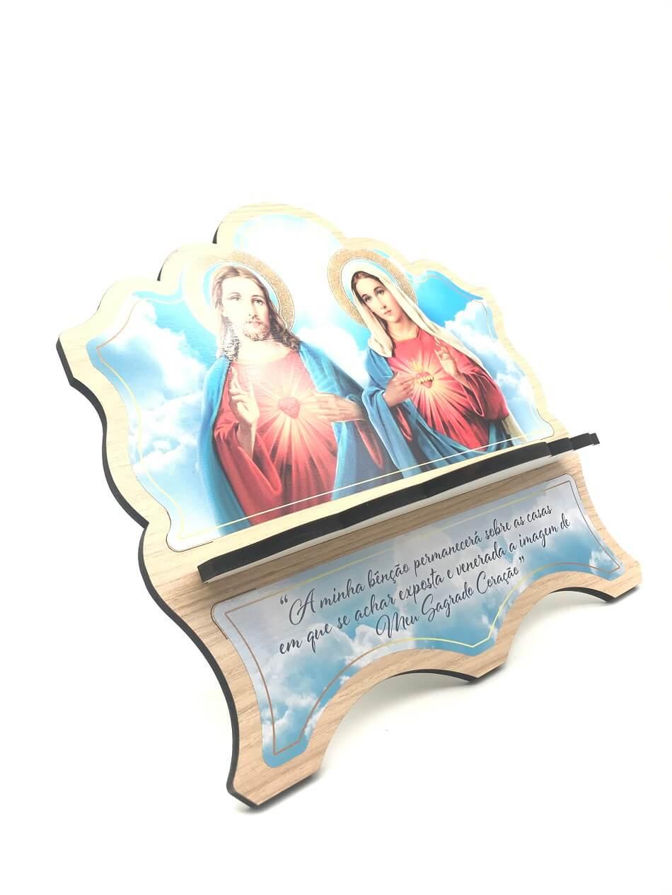 Porta Bíblia de Madeira MDF Sagrado coração de Jesus e Maria
