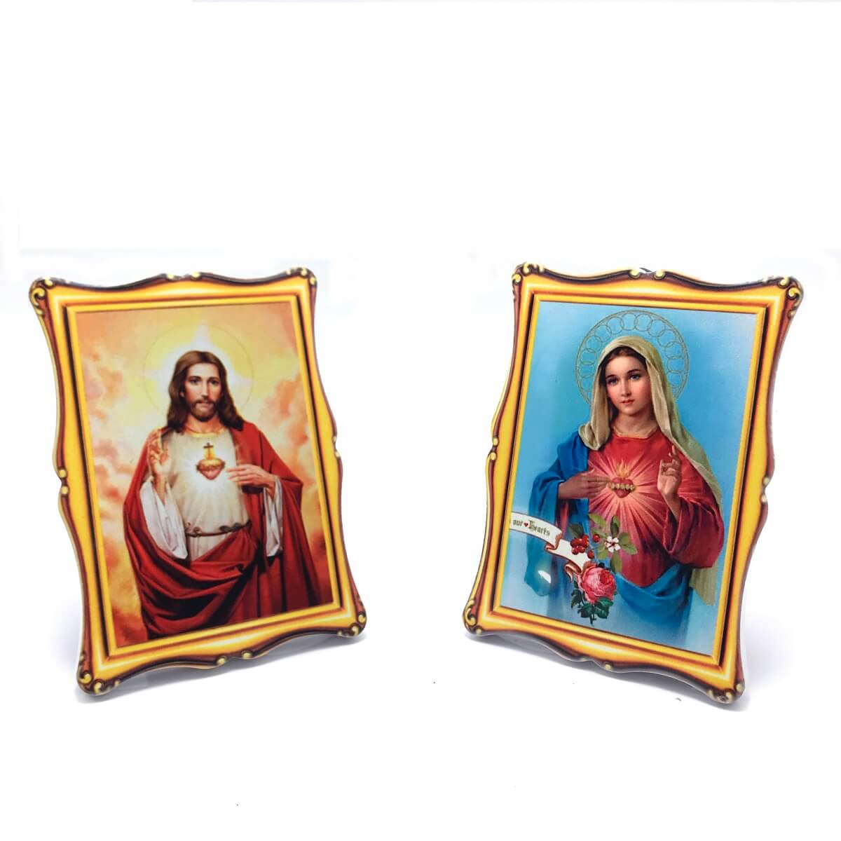 Quadro De Mesa E Parede Sagrado Coração De Jesus E Maria