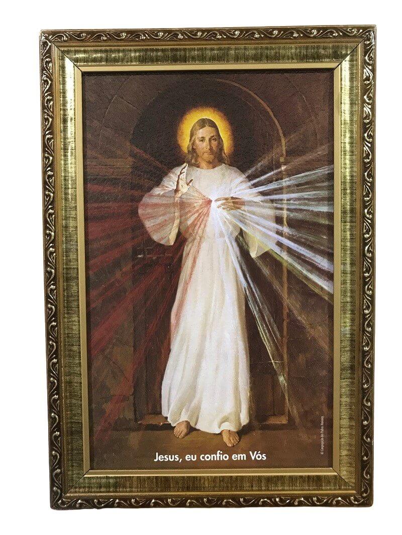 QUADRO JESUS MISERICORDIOSO RESINADO IMAGEM SKEMP