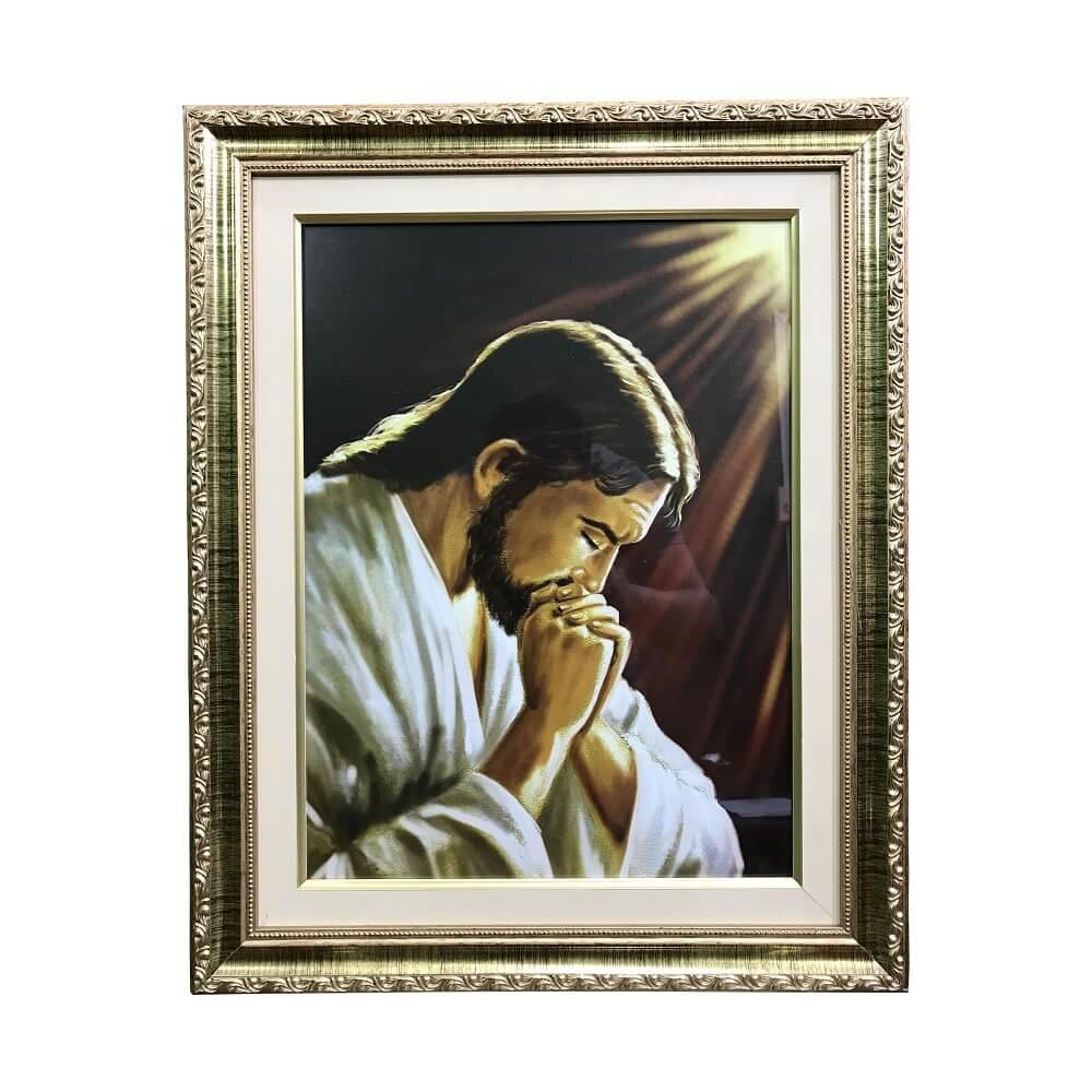Quadro Jesus Orante com Vidro e Moldura