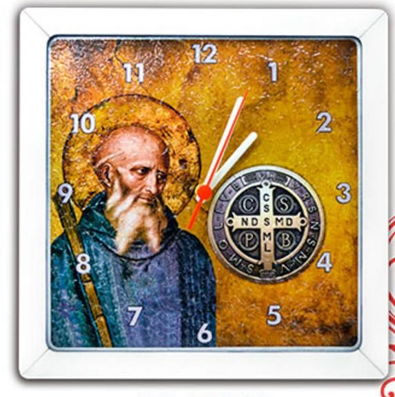 Relógio Quadrado Tema Catolico Religioso Tema Catolico Religioso Mdf 3Mm São Bento