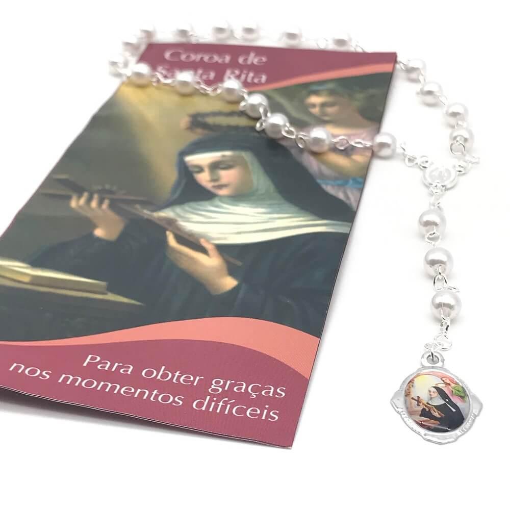 Terço Coroa De Santa Rita De Cassia Com Folheto De Oração