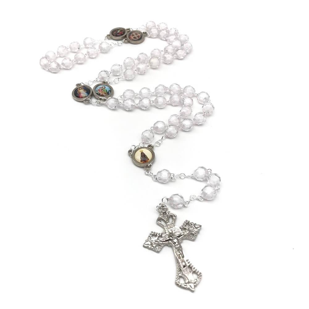 Terço Cristal Transparente Figuras Catolicas Diversos