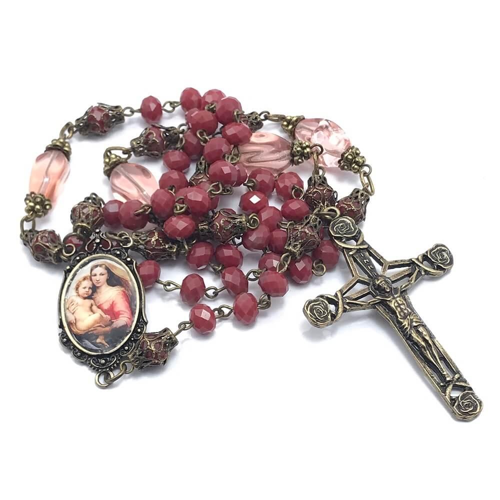 Terço Cristal Virgem Maria Madonna Sistina Vermelho OV