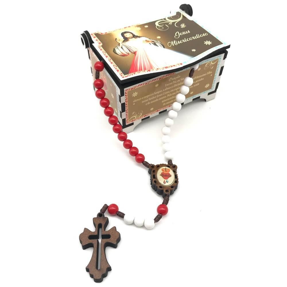 Terço de Jesus Misericordioso com Porta Terço