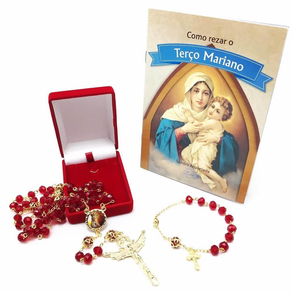 Terço De Nossa Senhora De Fátima Cristal Vermelho Folheado A Ouro